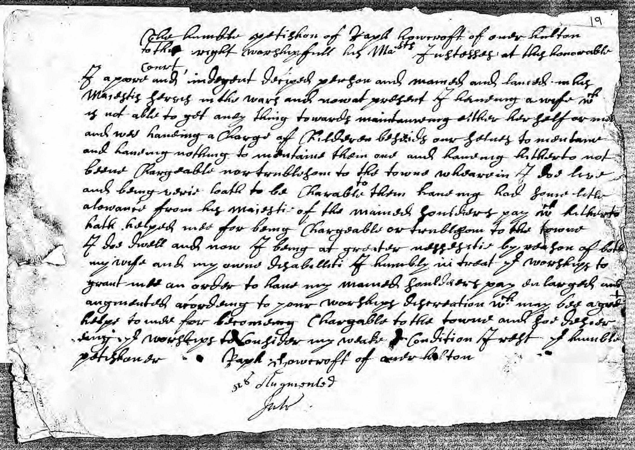 Ralph Howcroft's Petition 1678
